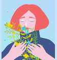 lady holding a bouquet wild flowers eyes closed vector image