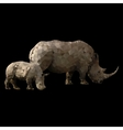 low poly rhino with baby vector image