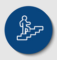 man on stairs going up white contour icon vector image vector image