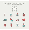 Medicine thin line icon set vector image vector image