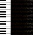 Music background with keyboard and stave notes vector image