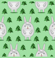 pattern with cute rabbits in firs forrest vector image vector image