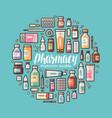 pharmacy pharmacology banner medical supplies vector image vector image