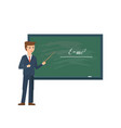 professor standing in front of school blackboard vector image vector image