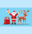 santa claus with bell bag gifts and his reindeer vector image