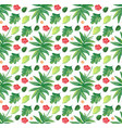 seamless background design with leaves and flowers vector image vector image