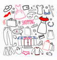 shopping hand drawn set sale woman fashion vector image vector image