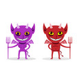 skinny imp and fat devil front view art vector image vector image