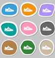 Sneakers symbols Multicolored paper stickers vector image vector image