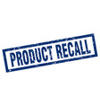 square grunge blue product recall stamp vector image vector image