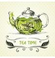 teapot green tea vector image vector image