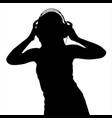 teen girl in headphones silhouette vector image vector image