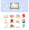 textbook knowledge set an open book information vector image vector image