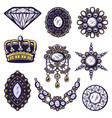vintage colored jewelry elements set vector image vector image