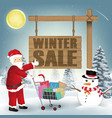 winter sale santa claus snowman and shopping cart vector image