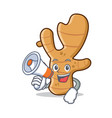 with megaphone ginger character cartoon style vector image vector image