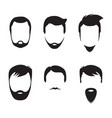 bearded men faces icon vector image