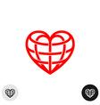 Heart earth globe shape linear weaved logo vector image