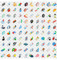 100 office icons set isometric 3d style vector image vector image