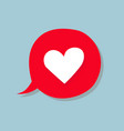 a conversational bubble with a heart icon vector image vector image
