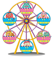 A ferris wheel with monsters vector image vector image