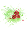 background with red flowers and bird vector image