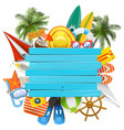Beach accessories with wooden plank vector