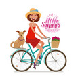 beautiful girl on bike perfect getaway vacation vector image vector image