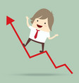 businessman is happy and running up on red arrow vector image vector image