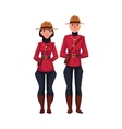 Canadian male and female policeman in traditional vector image vector image