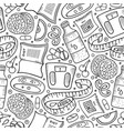 cartoon hand-drawn diet food seamless pattern vector image vector image