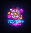 casino night neon logo neon sign vector image