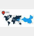 china map located on a world map with flag vector image vector image