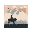 cowboy design with mountain western look vector image
