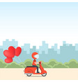 cute character riding vehicle to send love love vector image