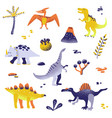 cute dinosaurs isolated on white background vector image