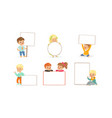 cute kids holding blank banners collection happy vector image vector image