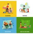 fatherhood concept icons set vector image vector image