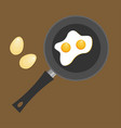 fried egg in a frying pan fried egg flat icon vector image vector image