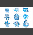 frozen food product set of logo templates hand vector image vector image