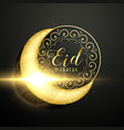 golden moon with floral decoration for eid vector image vector image