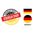 grunge textured european union stamp seal with vector image vector image