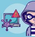 hacker with symbols cartoons vector image