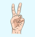 hand sign victory sign or peace sign or scissors vector image