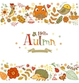 Hello Autmn banner in doodle style vector image vector image