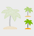 island tropic palm mesh wire frame model vector image vector image