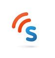 Letter S wireless logo icon design template vector image