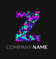 letter z logo with pink purple green particles vector image vector image
