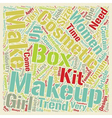 Makeup Boxes text background wordcloud concept vector image
