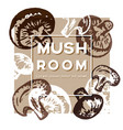 mushroom label decorative with ink hand painted vector image vector image